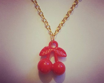 Retro cherries necklace on gold chain
