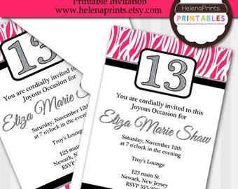 girl 13th birthday invitation,Zebra print Birthday Invitation, Birthday Invitation, Zebra party Invitation,Girl's Birthday Invitation