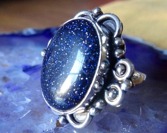 Sterling silver Natural Blue Goldstone Ring Size 6 7 8 9 - Natural Stone Ring - Gemstone Ring - Blue Sun Sitara ring - Boho Chic