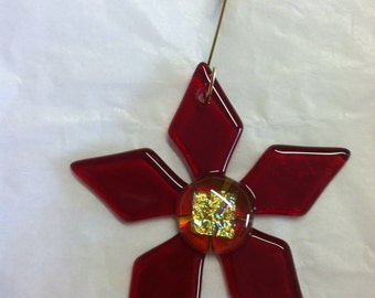 Red Glass Christmas Flower