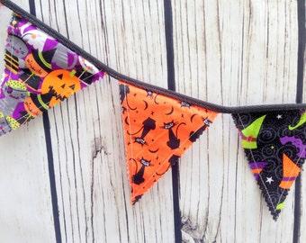 HALLOWEEN BUNTING BANNER/Bunting Banner/Fabric Bunting/Halloween Decor/Halloween Bunting/Holiday Decor/Bunting Flags/Fabric Banner