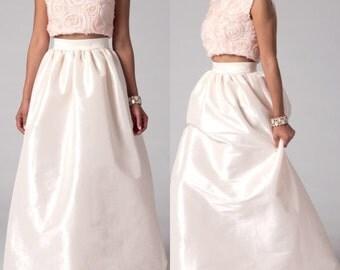 New Full Length Waist Gathered Taffeta Ball Gown Skirt in Sizes 6, 8, 10, 12, 14, 16, 18, 20, 22/Netting Taffeta Prom Skirt/ Bridal Skirt