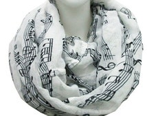 white Music note scarf , music note Infinity Scarf Spring Summer Scarf Women Fashion Accessories Gift For Her