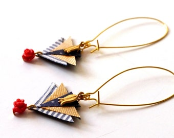 Earrings of Fabric and Brass - Mosaic of triangle colourful - red rose and flower