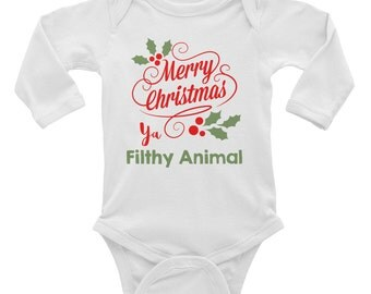 Merry Christmas Ya Filthy Animal Onesie Etsy