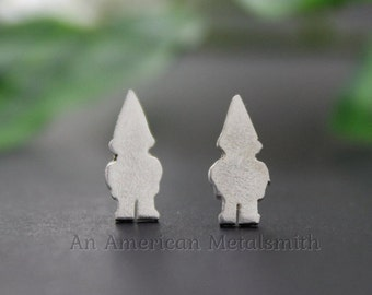 Sterling Silver Gnome Earrings, Gnome Jewelry, Gnome Stud Earrings, Silver Garden Gnome Earrings, Garden Gnome Jewelry, Silver Stud Earing