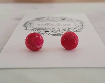 Hot pink and silver clay stud earrings