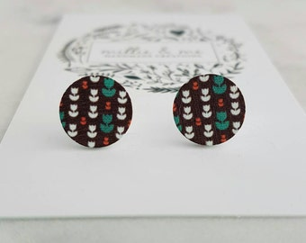 SALE Wooden flower stud earrings