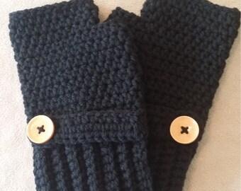 Men's Black Fingerless Gloves