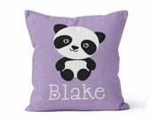 Personalized Baby Girl Name Throw Pillow Cover / Choose your color / Panda Bear/ Purple/ Pink/ Nursery Pillow/ Little girls room decor