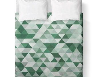 GreenTriangle Geometric Duvet Cover/ Comforter cover/  3 sizes available, king, queen, twin /bedding/ Made To Order