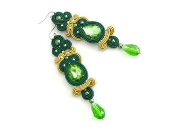 dangle long earrings boho earrings statement earrings crystal earrings gift for her green bohemian jewelry, soutache earrings, drop earrings