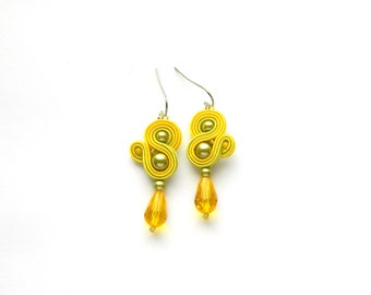 Yellow earrings, yellow drop earrings, yellow crystal earrings, soutache earrings, yellow boho earrings, yellow jewelry,