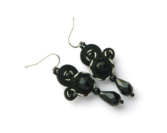 Black earrings, gray earrings, black drop earrings, black boho earrings, soutache earrings, black jewelry, embroidered earrings
