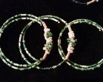 Green memory wire beaded bracelet set of 3