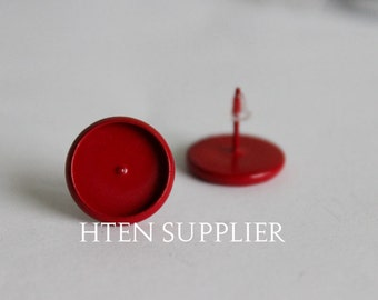 20/100pcs Red paint Earring Posts With Round 12mm Pad,8mm 10mm 12mm 14mm 16mm Earring setting , Earrings Blank