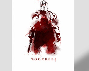 Jason Voorhees - NEW- Friday the 13th horror icon, gift, movie poster, illustration, horror icon, collectable, film, mancave, jason v freddy