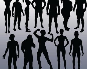 12 Body Silhouette  Images, Digital Clipart Images, Clipart Design Elements, Instant Download, Black Silhouette Clip art