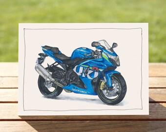 "Motorcycle Gift Card - blue sportsbike | A6 - 6"" x 4"" / 103mm x 147mm | Motorbike Gift Card"