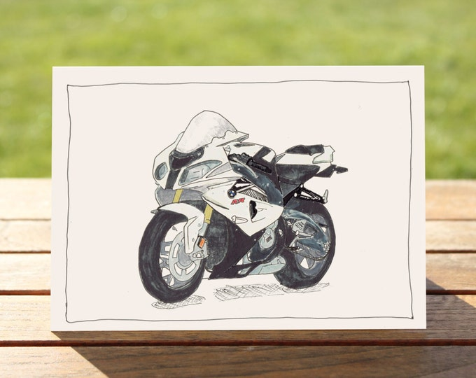 "Motorcycle Gift Card - BMW S1000RR Sportsbike | A6 Measures: 6"" x 4"" / 103mm x 147mm 