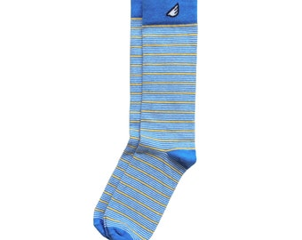 "Sky Blue / Gold / White Stripe Socks - Casual / Dress for Men and Women, Unique Fun Crazy Colorful - ""Sidekick"" Father's Day Gift for Dad"