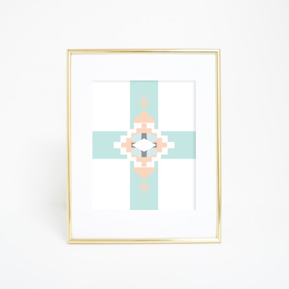 Southwestern Print, Mint Print, Peach, Aztec Print, Tribal Art Print, Printable Art, Navajo Wall Art, Navajo Wall Decor, Digital Prints