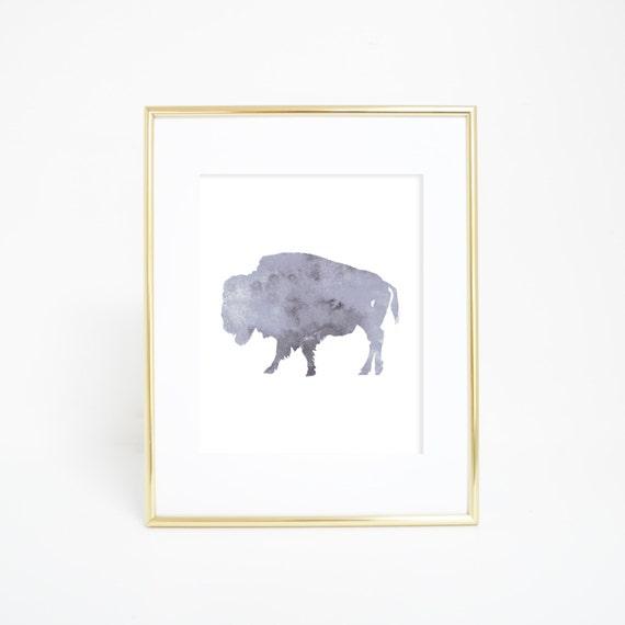 Buffalo Print, Woodland Decor, Buffalo Art, Printable Wall Art, Printable Buffalo, Gray Print, Watercolor, Digital Print, Printable Art