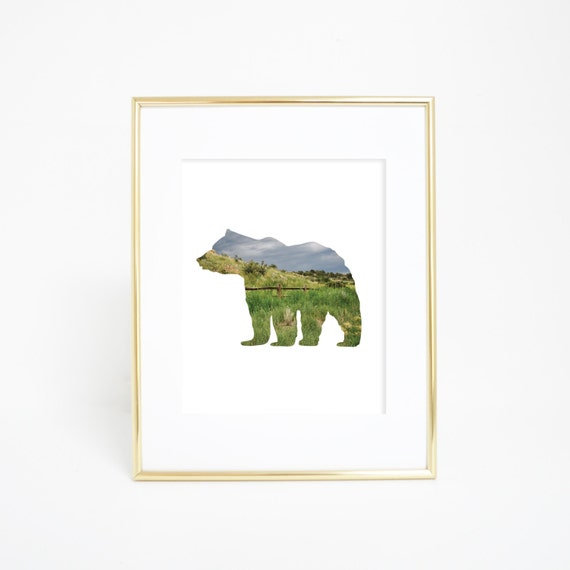 Colorado Print, Bear Print, Bear Silhouette Art, Colorado Mountains, Bear Art, Bear Print, Printable Wall Art, Download Wall Art