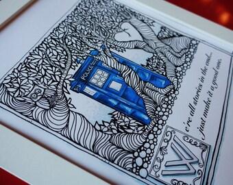 Tardis geek art, zendoodle fairytale style. Print of my original whovian drawing.