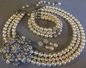 COMPLETE Bridal Jewelry Set Vintage inspired Pearl Necklace Bracelet Earrings 3 multi Strand of Swarovski Pearls wedding jewelry Sets
