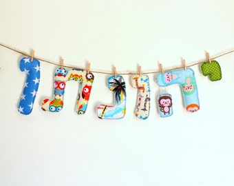 Name banner for nursery, Baby boy gift, Nursery decor boy, Nursery decor letters wall art, Baby shower gift boy, Custom baby shower banner
