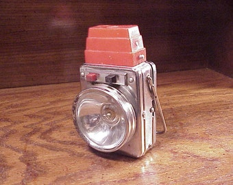 Vintage Rusty Old Battery Powered Red Top Chrome Lantern made in Hong Kong