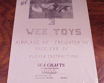 Vintage 3 Wee Toy, Tank, Boat and Helicopter Wooden Toy Plans and Instructions, from Sea Crafts of Lincoln City, Oregon