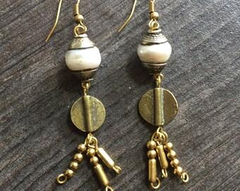 Pearl beaded earrings, pearl and brass earrings, long brass beaded earrings, dangle pearl earrings