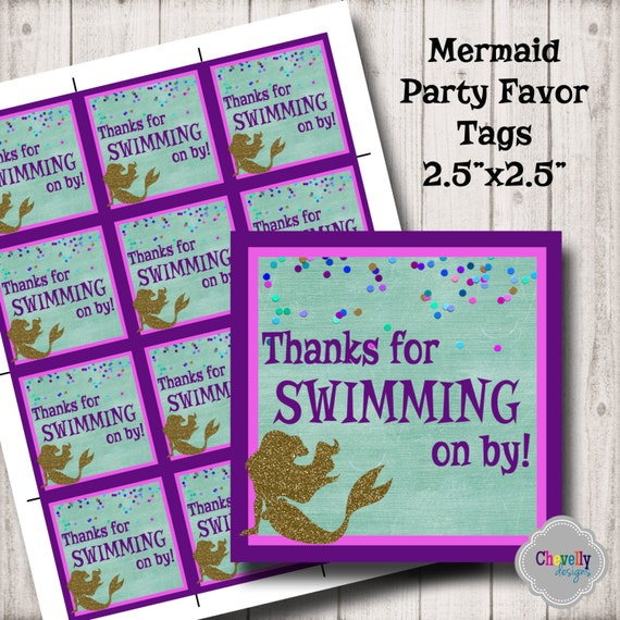 Mermaid Party Favor Tags HT017 Birthday Party Party