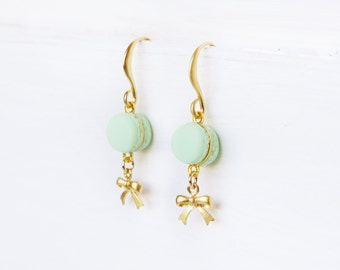 Elfi Handmade Cute Mint Macaron Earrings, Dessert Food Jewelry, Gold Bow Earrings, Donut Charm, Perfect for Christmas Gift, Best Selling