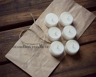 All natural soy wax tea lights - scent of choice!