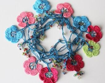 Crochet Flower Necklace, Oya crochet, Blue Beaded Necklace, Silk Jewelry, Lariat crochet necklace