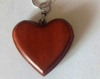 Cherry coloured wood heart shaped Keyring