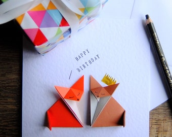 Happy Birthday Red Fox & Brown Fox Origami Birthday card