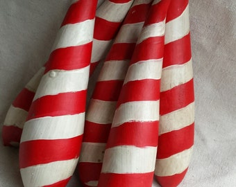 Candy Cane Gourd ornament