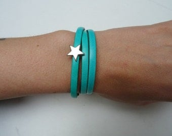 bracelets in leather Zebra or green thong with star or skull jewelry