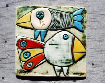 Two birds - Handmade ceramic wall art tile