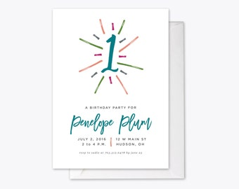 Excitable One Kid's Birthday Party Invitation Printable