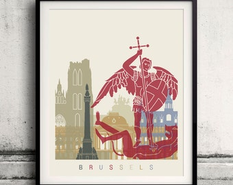 Brussels skyline poster - Fine Art Print Landmarks skyline Poster Gift Illustration Artistic Colorful Landmarks - SKU 1596
