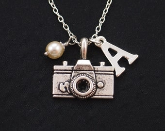 initial necklace, camera necklace, Swarovski pearl choice, silver camera charm, photography necklace, vacation, camera pendant, travel