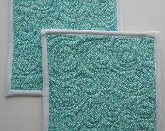 Quilted Potholders/Hot Pads - Teal Fabric with Delicate White Floral Print - Set of two
