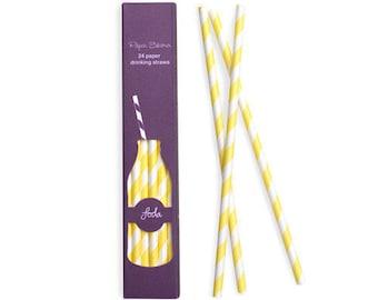 Straws | Yellow Paper Straws | Yellow Stripe Party Straws | Paper Straws | Yellow and White Stripe Party Straws | 24 per pack