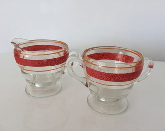 Vintage Striped Red and Orange Sugar/Creamer 1950s