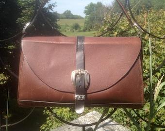"Alex, Women's Handmade 'Waxed Brown"" Scotchgrain Brown Horween Leather Handbag"